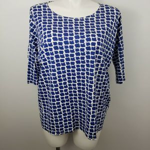 Orange Fashion VIllage Lg XL blue short sleeve top